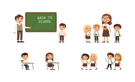 Little schoolchildren and teachers. Cheerful classmates standing near blackboard. Children go to school, sit at  schooldesk. Greeting on school chalkboard. The concept of back to school. Cartoon character, flat vector illustration set.