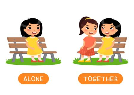 ALONE and TOGETHER antonyms word card vector template. Flashcard for english language learning. Opposites concept. Two little asian girls are sitting on the bench, the girl is sitting alone. Illustration with typography Ilustrace