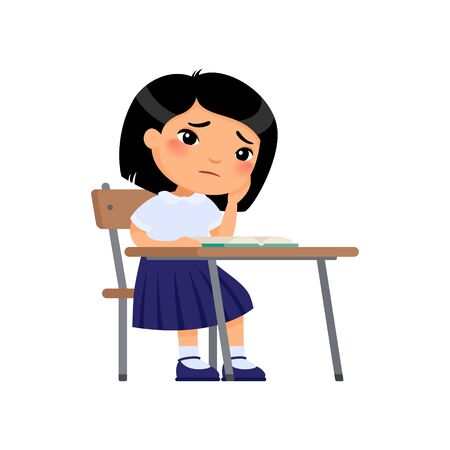 Toothache concept. Girl in school uniform holds a hand on a cheek.  Unhappy asian schoolgirl sitting at table. Sad elementary school student flat color vector illustration. Illustration