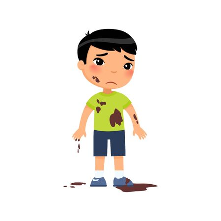 Sad dirty  boy flat vector color illustration. Unhappy asian toddler in mud. Bad child behavior. Untidy, grubby little child with dark hair cartoon character isolated on white background