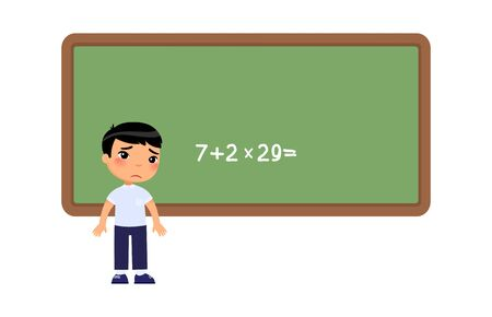 Little asian boy cannot solve the difficult example on the school board. Sad schoolboy flat vector illustration. Kid does not know the answer to mathematical question