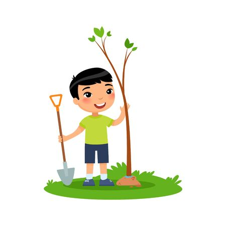 Cute little asian boy planting tree flat vector illustration. Happy kid gardening cartoon character. Child cultivating young green plant isolated on white background. Nature protection concept