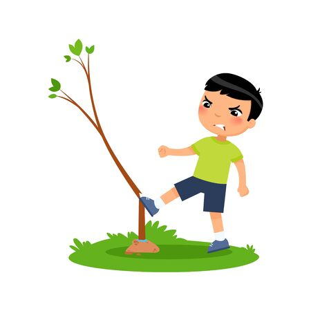 Aggressive boy breaking young tree flat vector illustration. Furious little asian kid damaging plant cartoon character. Angry child destroying nature isolated on white background. Ecology protection concept