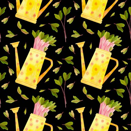 Yellow watering can with seedlings of beet . Multicolored spring crops. Fresh microgreens, cress salad. Garden season. Hand drawn watercolor seamless pattern. Wallpaper, wrapping paper design, textile, scrapbooking, digital paper.