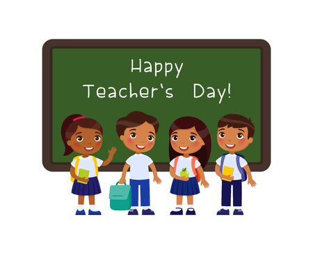 Happy teachers day greeting flat vector illustration. Dark skin schoolkids standing near blackboard in classroom cartoon character. Smiling pupils congratulate teachers. Educational holiday celebration