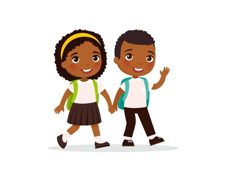 Schoolmates going to school flat vector illustration. Dark skin couple pupils in uniform holding hands isolated cartoon characters. Happy elementary school students with backpack back to school after holidays