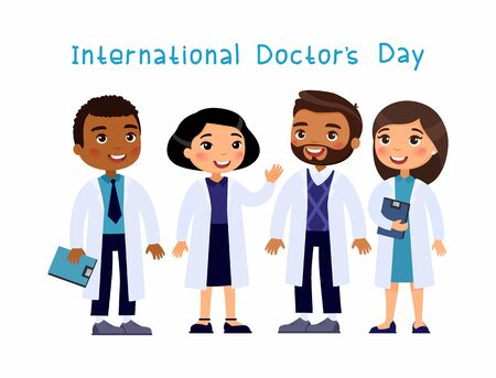 International Doctors`s Day concept. Multicultural medical workers  smiling and waving. Cartoon flat vector characters on white background.