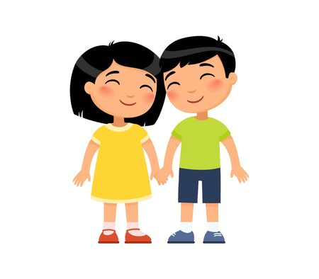 Young asian boy and girl in love flat vector illustration. Cute boyfriend and girlfriend holding hands cartoon characters. Couple isolated on white background.