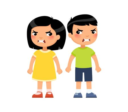 Angry little asian boy and girl flat vector illustration. Furious children quarrel, aggressive kids arguing cartoon characters. Kids with mad face expression isolated on white background Reklamní fotografie