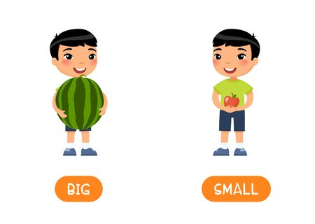 BIG and SMALL antonyms word card vector template. Flashcard for english language learning. Opposites concept. Little asian boy hold watermelon and an apple in his hands. Illustration with typography