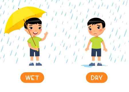 WET and DRY antonyms word card vector template. Flashcard for english language learning. Opposites concept. Little asian boy stands with umbrella in the rain and smiles, boy without umbrella gets wet and sad. Illustration with typography