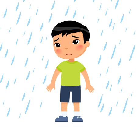 Unhappy boy under rain flat vector illustration. Sad preteen child in bad rainy weather. Asian kid with dark hair getting wet under downpour. Isolated cartoon character on white background Reklamní fotografie