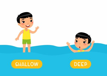Opposites, DEEP and SHALLOW words. Little asian boy swimming cartoon illustration. Educational english flash card with antonyms flat vector template. Childish memo cards for language learning concept.