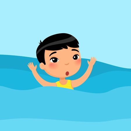 Scared asian little boy swimming flat vector illustration. Child sinking, waving hands and calling for help in sea. Danger on water. Kid learning to swim cartoon character on blue background Reklamní fotografie