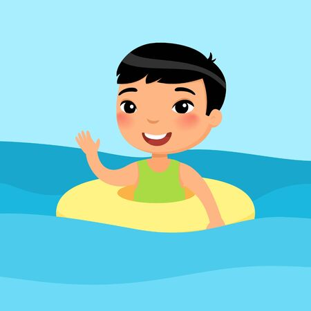 Asian boy swimming with inflatable ring flat vector illustration. Beautiful child having fun in water, waving hand. Cheerful kid enjoying summer activities color cartoon character