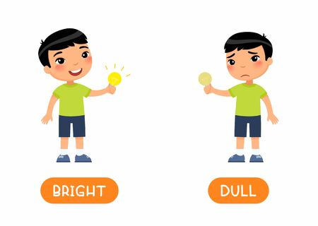 Opposites, DULL and BRIGHT words.Cute asian boy holds a light bulb in his hand flat illustration with typography.Educational english word card with antonyms vector template. Childish cards for language learning concept. Reklamní fotografie