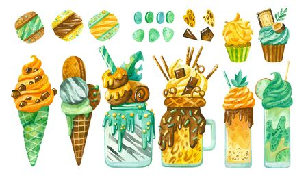Sweet-stuff, confection hand drawn illustrations in african leopard, zebra and giraffe style. Milkshake, cookies, cupcake,  ice cream, marshmallows, macaroon, sweets, marmalade, cookies, caramel and candy canes watercolor drawings pack. Cartoon sweets and yummies collection isolated on white background