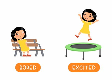 Asian girl jumping and sitting on bench illustration with typography. Opposites concept EXCITED and BORED. Antonyms word card vector template. Flashcard for english language learning with flat character.