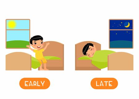 LATE and EARLY antonyms flashcard flat vector template. Opposites concept. Word card for english language learning with cartoon character. Asain boy waking up and sleeping illustration with typography