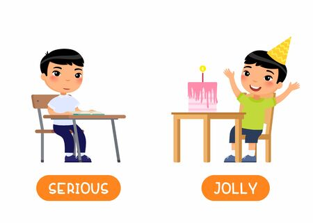 JOLLY and SERIOUS antonyms word card vector template. Opposites concept. Child at school, asian boy celebrating holiday flat illustration with typography. Flashcard for english language learning. Ilustrace