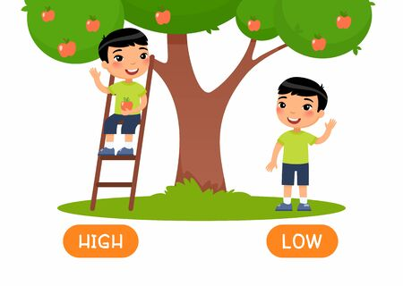 HIGH and LOW antonyms word card vector template. Opposites concept. Flashcard for english language learning.Boy standing on ladder, picking apple from tree illustration with typography