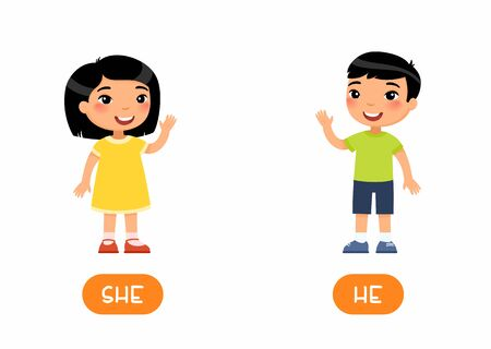 She and he antonyms flashcard vector template. Opposites concept. Word card for english language learning with flat characters. Asian girl and boy waving hand illustration with typography