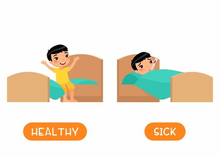 HEALTHY and SICK antonyms flashcard vector template. Opposites concept. Little asain boy in bed with thermometer illustration with typography. Word card for english language learning with flat characters. Ilustrace