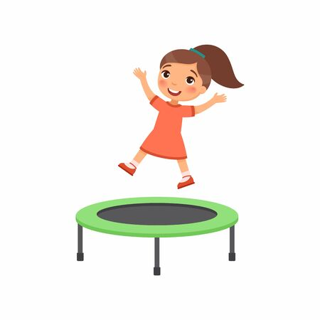 Little girl jumping on trampoline flat vector illustration. Happy sportive child having fun, playing. Preteen cheerful child enjoying game, childhood activity. Isolated cartoon character on white