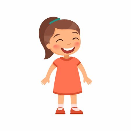 Laughing little girl flat vector illustration. Cheerful child  with a smile on face standing alone cartoon character. Lonely kid in good mood, person happy expression isolated on white background