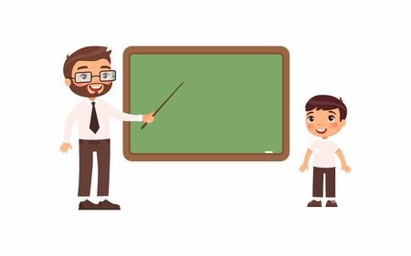 Teacher and schoolboy at classroom flat vector illustration. Male tutor and pupil standing near empty chalkboard cartoon characters. Boy at school class isolated on white background