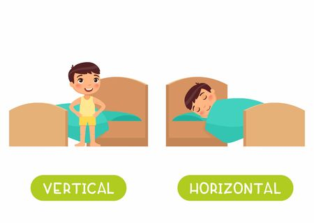 Opposites concept, HORIZONTAL and VERTICAL. Word card for language learning. Little boy is lying in bed, child is standing. Flashcard with antonyms for children vector template. Flat illustration with typography.