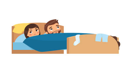 Caucasian young couple in bed. Clothes are scattered. Satisfied man and displeased woman. Unhappy married couple. Sexual problems concept. Colorful vector illustration in flat cartoon style.