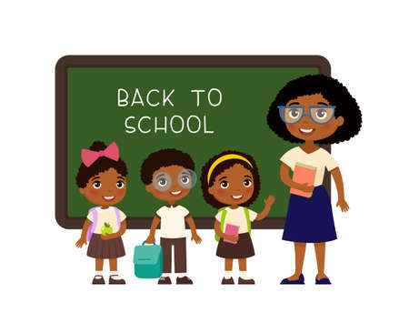 Dark skin male teacher standing near blackboard flat vector illustration. Smiling tutor pointing at blank chalkboard in classroom cartoon character. Educational process. School lesson tutor