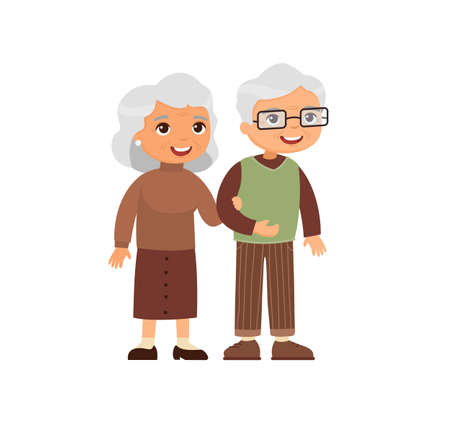 Old caucasian couple. Senior couple smiling and walking together. Elderly woman holds arm of elderly man. Happy married life concept. Vector illustration Иллюстрация