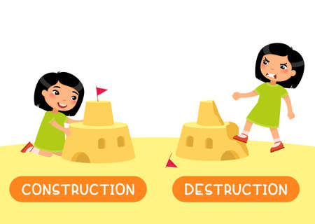 Opposites concept, CONSTRUCTION and DESTRUCTION. English language educational flash card vector template. Word card with antonims. Little asian girl build and ruining sand castle flat illustration with typography