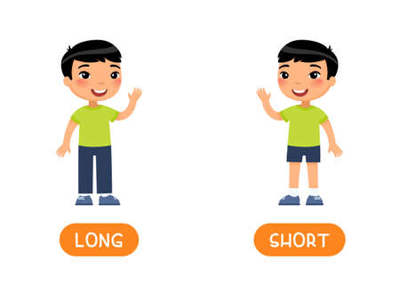 Asian boy in SHORT and LONG jeans. Opposites concept.Flashcard vector template. Word card for english language learning with flat characters. Illustration with typography. Çizim