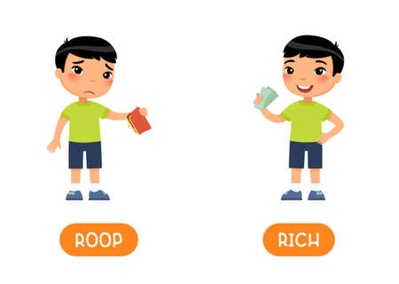 RICH and POOR antonyms word card vector template. Opposites concept. Sad asian boy with empty wallet and child with money flat illustration with typography. Flashcard for english language learning.