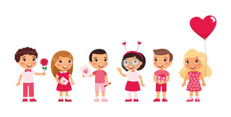 Little boys and girls dating, celebrating Valentines Day flat vector illustration. Young girlfriends and boyfriends isolated cartoon characters set. Children with February 14 presents Çizim