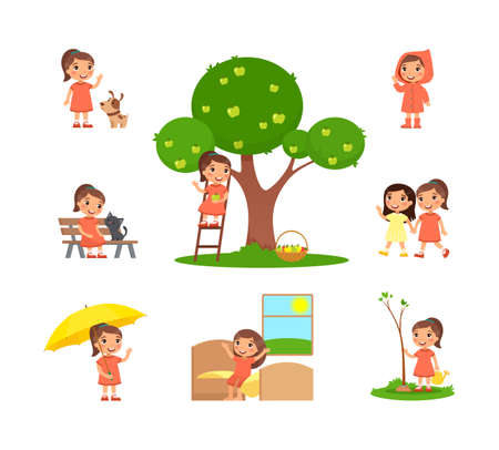 Little girl is spending time in the countryside. The concept of summer fun. Village holiday, harvesting. Cartoon character, set of flat vector illustrations Çizim