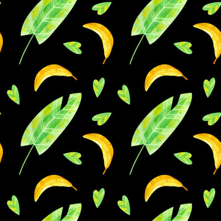 Summer season mood watercolor seamless pattern. Exotic jungle banana leaves and fruits, foliage, plants flora. Tropical exotic greens watercolor illustration on dark background. Wallpaper, wrapping paper design, textile, scrapbooking, digital paper.