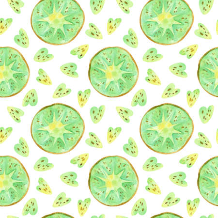 Kiwi fruit drawings seamless pattern. Summer tropical fruits hand drawn texture. Watercolor creative wallpaper, wrapping paper, textile design, scrapbooking, digital paper.