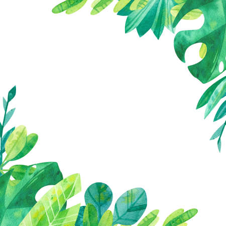 Empty square frame with jungle leaves hand drawn illustration. Tropical exotic leaves border watercolor drawing. Blank frame with greens isolated on white background