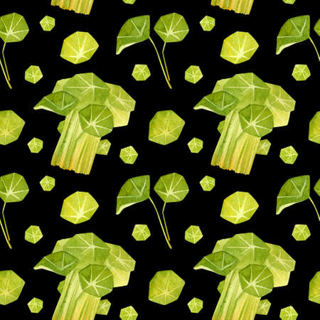 Spring garden leaves of nasturtium seamless pattern. Cartoon greens watercolor illustration. Wallpaper, wrapping paper design, textile, scrapbooking, digital paper.