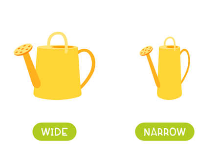 Antonyms concept, WIDE and NARROW. Educational flash card with yellow watering cans of different widths template. Word card for english language learning with opposites. Flat vector illustration with typography