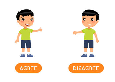 Educational word card with opposites. Antonyms concept, AGREE and DESAGREE. Flash card for English studying. Little asian boy showing thumbs up, thumb down. Flat vector illustration with typography