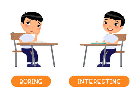 INTERESTING and BORING antonyms word card vector template. Flashcard for english language learning. Opposites concept. Little asian schoolboy listens with interest to the lesson, child is bored. Illustration with typography