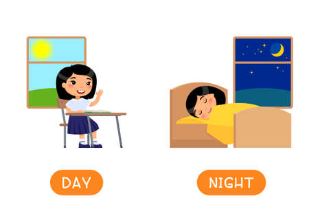 Antonyms concept, DAY and NIGHT. Educational word card with opposites. Flash card for English studying. Little asian girl sitting at school desk, child sleeps in bed. Flat vector illustration with typography