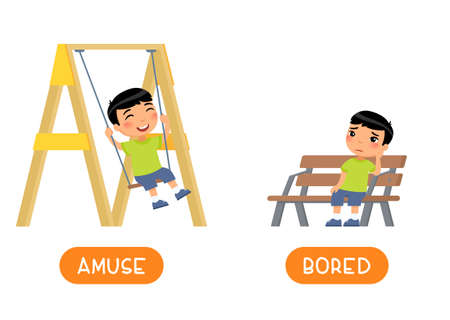 AMUSE and BORED antonyms word card vector template. Flashcard for english language learning. Opposites concept. Happy little asian boy swinging on swing, unhappy child sitting on bench .. Illustration with typography