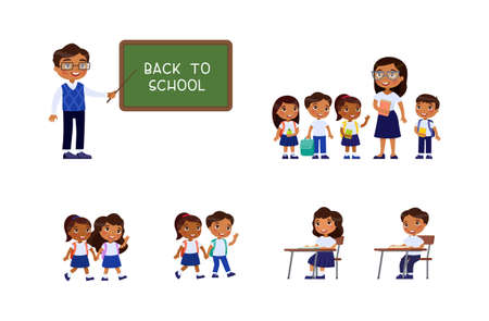 Dark skin schoolchildren and teachers. Cheerful classmates standing near blackboard. Children go to school, sit at schooldesk. Greeting on school chalkboard. The concept of back to school. Cartoon character, flat vector illustration set.