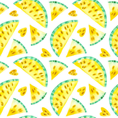 Yellow watermelons drawings seamless pattern. Summer tropical fruits hand drawn texture. Watercolor creative wallpaper, wrapping paper, textile design, scrapbooking, digital paper. 스톡 콘텐츠